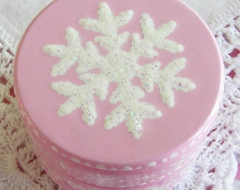 Hand Painted Love Boxes Pink Snowflake Trinket Box Wood
