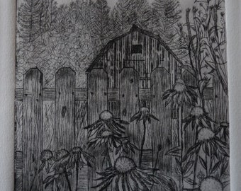 Ravensong Farm Old Barn - Limited Edition Drypoint Print