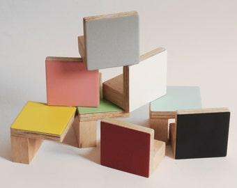 Colours Door Wooden Knobs Square shape