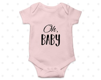 Oh Baby Cute Bodysuit Pink Grey White Girls New born Baby Shower
