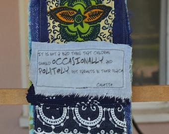 Dark Blue Doorknob Hanging Art Quilt - Polite