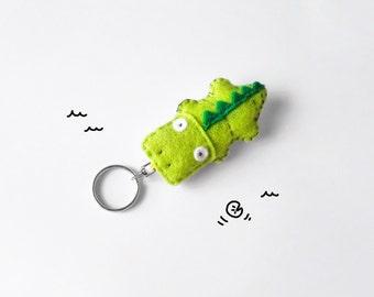 Crocodile felt keychain, green cute animal keychain charm, stuffed funny animal, bag accessory, made to order