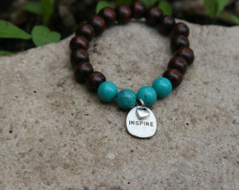 Yogi inspired wood bead bracelet with inspire charm heart and turquoise gemstones perfect gift for teacher mentor