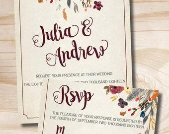 Fall Watercolor Floral Wedding Invitation Response Card Invitation Suite