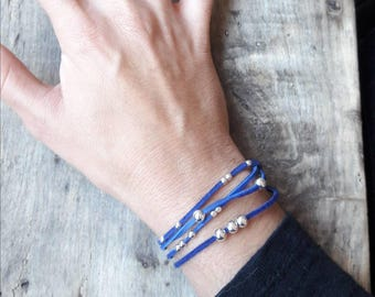 Leather Bracelet blue and silver bead