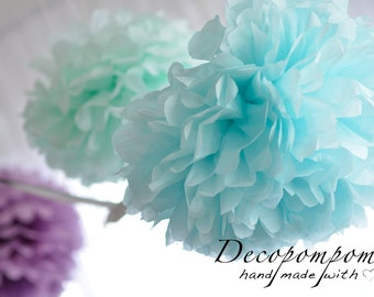 """4 extra large  19""""/49cm  tissue paper  pom poms  - custom colors-weddings /birthdays /party decorations / classroom / gender reveal"""