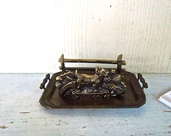 Vintage Brass Bonnie Scotland Business Card Letter Holder with Brass Tray Vintage Home and Living Home or Office Decor Vintage  Organizer