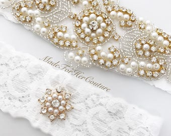 Gold Wedding Garter, Gold Bridal Garter Set, Gold Garter Set, Crystal Pearl Garter, Gold Garter, Wedding Garter-Bridal Garter