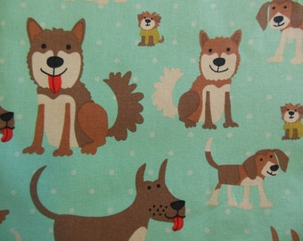 Fat Quarter - Puppies on Turquoise
