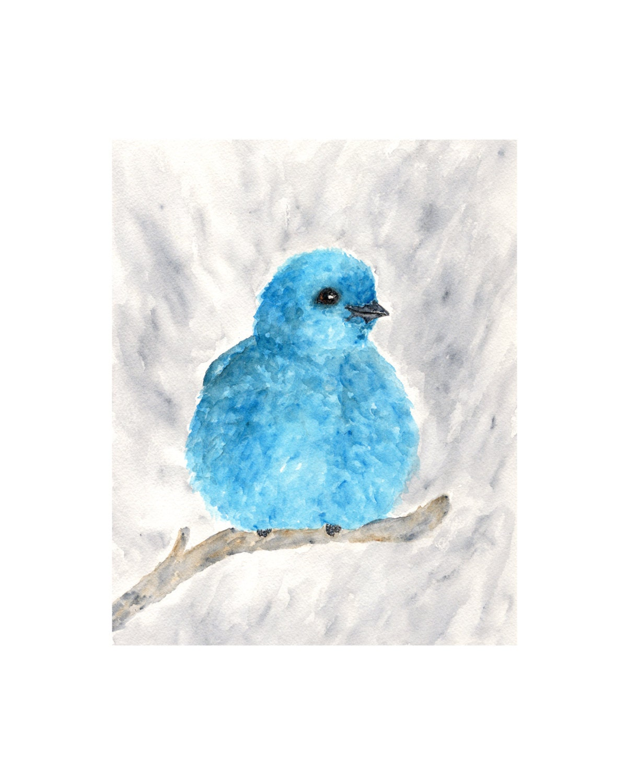 Blue bird art, watercolor bird painting, blue, blueberry, watercolor animals, blue home decor, 8X10