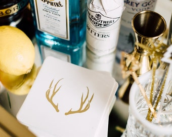 Deer Antler Gold Foil Coasters, 4 Ply Ultra Thick, Cotton Blotting Paper, 4 inch, 10 CT.