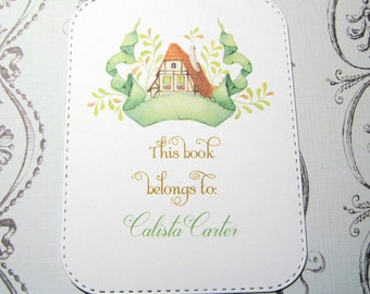 Fairy Tale Cottage Personalized Bookplate - Set of 24 - Adhesive - Peal and stick - Large - Children - Sticker - Book Plate - Trending