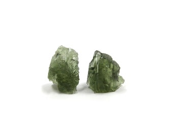 Moldavite Crystal 2 Rough Natural Green Stones 10mm and 11mm for Jewelry Making and Wire Wrapping (Lot 7115) Genuine Tektite Meteorite