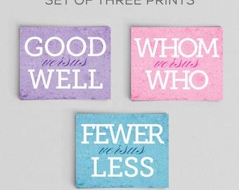 Office Decor English Grammar Comparison Prints Set of Three 8x10s Home Decor Gift Teacher Gift Typographic Print English Gifts Gag Gift