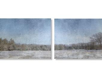 Winter Fields and Woods, Snowy Field Art, Diptych Photo Set, Field of Snow Indigo Blue Sky, Gray Trees, White Field Photo Print TWO 14 x 11