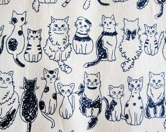 Cat Fabric Japanese Fabric - Animal Print Fabric Cotton Canvas - Cats on Natural Japanese Fabric - Half Yard - Kokka Fabric From Japan