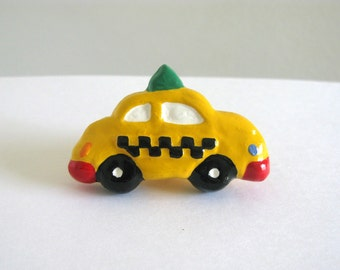 Taxi Knob - ceramic painted dresser drawer knob for kids room