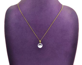Natural 12mm CRYSTAL BALL  Pendant Charm Amulet NECKLACE 14K Chain 20""
