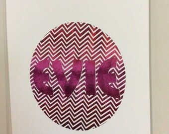 A4 Customised  Name Foil Print Chevron Circle CHOOSE YOUR NAME