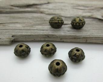 Bronze Rondelle Spacer Bead, 8x7mm, Rustic Bronze Bead (6)