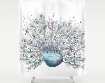 Peacock Shower Curtain - Peacock-  Watercolor Art, Blue bathroom, art, decor, bath, gift,  curate your home