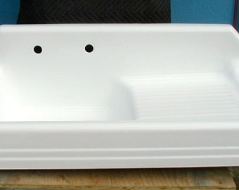 Cast Iron Kitchen sink art deco style professionally refinished bright white right hand drainboard