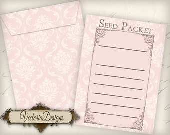 Printable Seed Packets Seed Envelopes instant download digital collage sheet VD0474