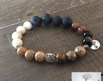 """Natural Stone Elastic Bracelet - """"Stronger Than You Think"""" (Red Tigers Eye, Picture Jasper, Riverstone, Lava Rock)"""