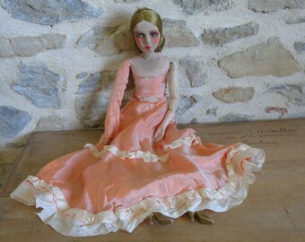 Antique French Boudoir Doll, 29 inch doll with hand painted face and porcelain limbs