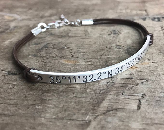 Personalized Women's Leather Sterling Silver Bracelet Custom Bracelet GPS Coordinates