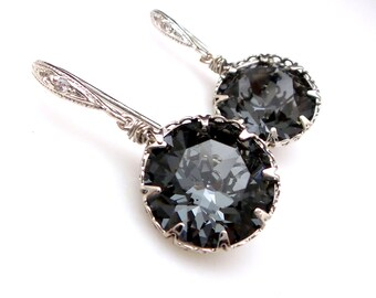 Swarovski silver night vintage round foiled crystal rhinestone rhodium sterling silver cubic zirconia hook bridesmaid gift prom earrings
