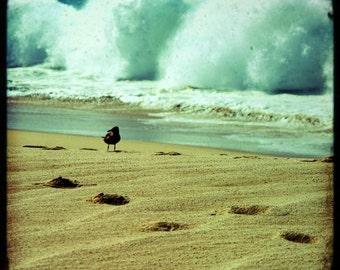 SALE: beach photography summer sand footprints dreamy seascape ocean waves seafoam green Mexico Los Cabos travel photography 8x8 print