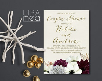 Couples Shower Invitation Printable, Floral Couples Shower Invitation, Boho Couples Shower Invitation, Bohemian Invitation, Succulent Invite