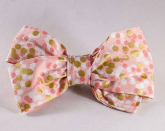 Valentine's Day Champagne Pop Pink and Gold Polka Dot Girl Dog Bow Tie