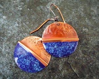 Copper earrings, Enamel earrings, Hammered copper, Disc earrings, Circle earrings, Metalwork jewelry, Artisan earrings