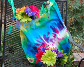Tie dyed canvas bag