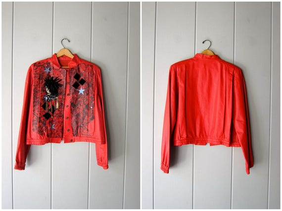 80s Red Leather Coat PATCHWORK Slouchy Leather Bomber Jacket Vintage 1980s Micheal Jackson Moto Coat Biker Retro Punk Rock Womens Large XL