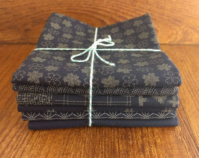 """Featured listing image: Fat Quarter collection of Japanese import quilting fabric """"Traditional Indigo Basics"""" by Westex fabrics"""