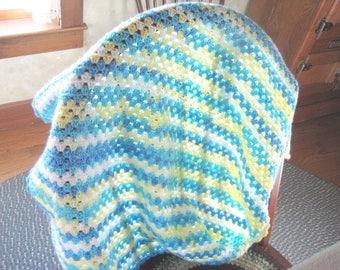 Crochet Baby Blanket, Baby Boy Afghan, baby girl blanket, Lapghan, Multi Blue green yellow small Blanket, Baby room home Decor
