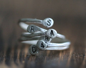 Adjustable Recycled Sterling Silver Stacking Bud Ring w Two Initials by Pale Fish  NY, R036