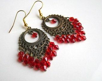 Red Crystal Chandelier Earrings Red Chandelier Earrings Red Earrings
