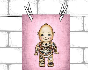 Pink Tattoo Baby Kewpie Doll-  8x10  Illustration Art Print - Baby Nursery Decor  - Kewpie Doll Art