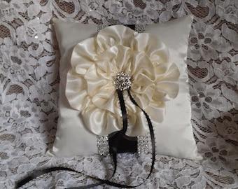 Ring Bearer Pillow, Wedding Pillow, Bling Ring Bearer Pillow, Ivory Satin Flower, Black Trim and Rhinestone Mesh Trim,