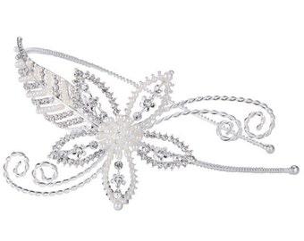 Pearl Headband, Silver Leaf Headband, Crystal Headband, Bridal Headband, Bridal Headpiece, Wedding Headpiece, Wedding Headband, Bridal Tiara
