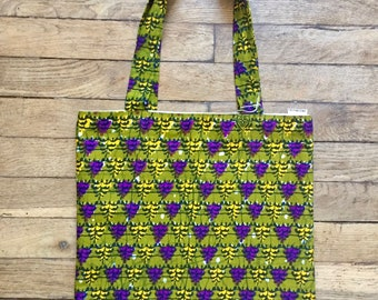 Tote bag / purse wax and organic cotton Green Khaki purple patterns