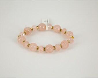 Stretch Bracelet Featuring Rose Quartz Beads
