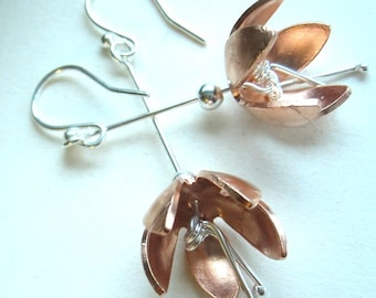 Fuchsia Flower Drop Earrings Copper Fuschia with silver Hooks  and stamen handmade by metalsmith