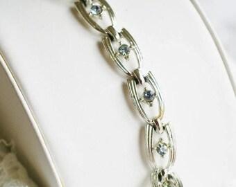 Coro Designed Link Bracelet - Silver Tone and Light Blue Rhinestones Link Bracelet, Vintage Modern Gift for Her, Wedding Jewelry