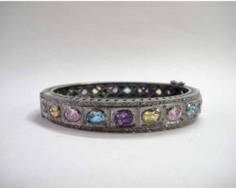 Multi gemstone rosecut diamond citrine amethyst blue topaz ovals custom bangle bracelet antiqued vintage style