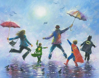 Three Boys Super Hero Art Print, three brothers, happy family dad mom, super hero kids, rain family art, three sons paintings, Vickie Wade